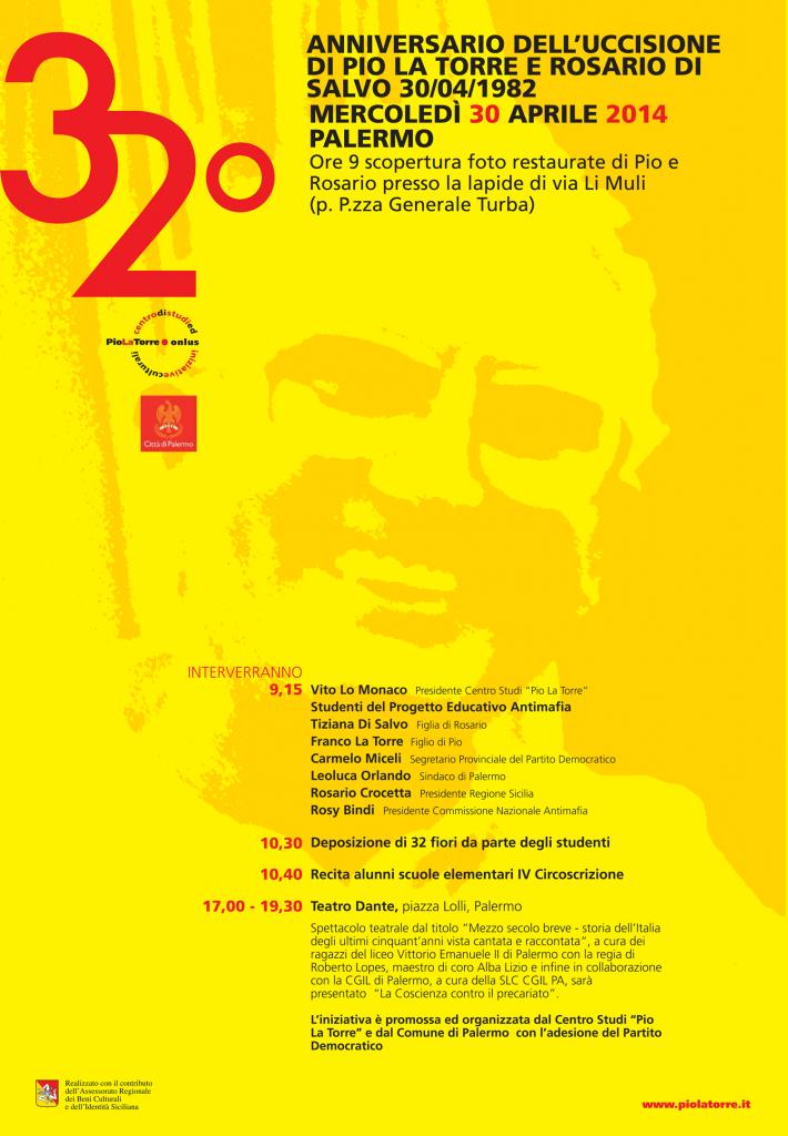 32° anniversario dell'uccisione di Pio La Torre e Rosario Di Salvo | 30 Aprile 2014