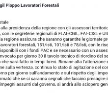 Vertenza Forestali, FLAI, Fai e Uila: la Regione assicura i fondi