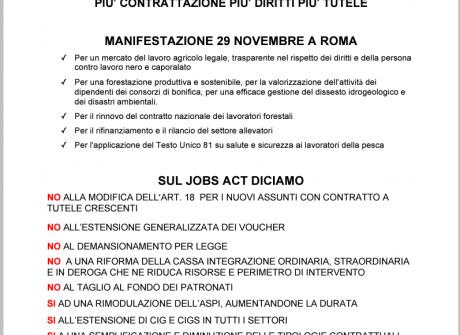 Manifestazione 29 novembre. Agroalimentare: il lavoro che vogliamo