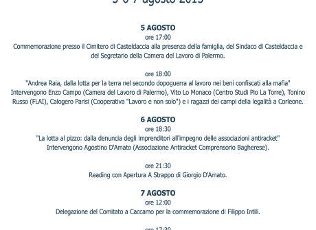 Casteldaccia, 5-6-7 Agosto Forum Antimafia Andra Raia