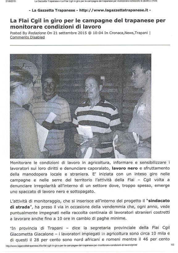 """Gazzetta Trapanese: """"La Flai CGIL va nei campi per monitorare condizioni di lavoro"""""""